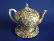 Rare Crown Ducal 'Viola' Chintz Teapot and Stand c1925
